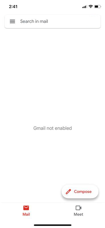 Gmail not enabled
